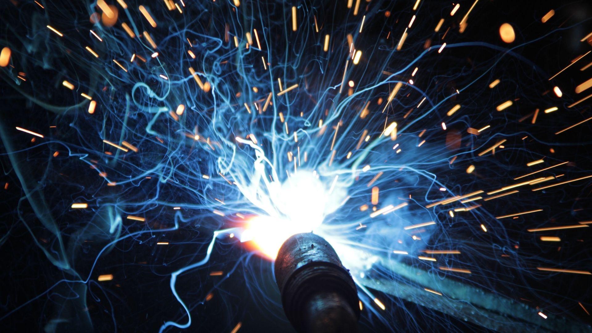 Welding blue sparks boilermaker